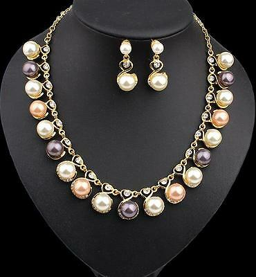 Necklace Earring Wedding Rhinestone Jewelry set Pendant Pearl Gold Color Fashion