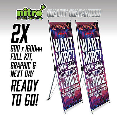 2x X Banner Pop Up Exhibition Stand 600x1600mm INC PRINTED GRAPHICS & DELIVERY