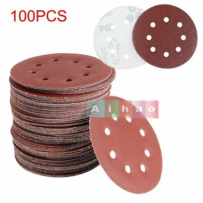 "100Pcs 125mm - 5"" SANDING DISCS 40 60 80 120 240 GRIT ORBITAL SANDER PADS【UK】"