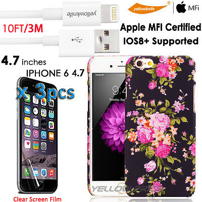 10FT MFI Lightning to USB Data Sync Cable iPhone 6S Case Vintage Flower Pattern