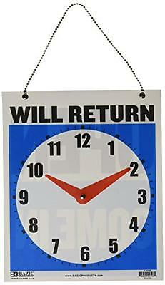 "BAZIC 7.5""x9"" ""WILL RETURN"" Clock Sign w/ ""OPEN"" sign on back (Case of 24), New,"