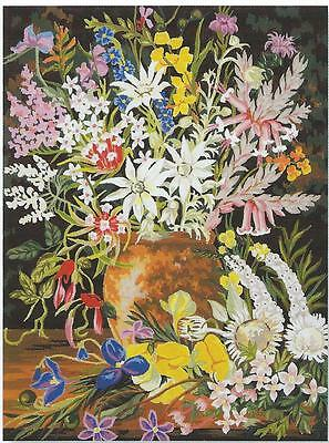 New Rare Australian wild flowers tapestry canvas d73  50 x 60cm- Ready to stitch