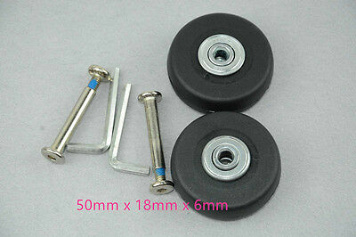 2pcs Luggage Suitcase Replacement Wheels Axles Wrench Deluxe Repair OD 50mm TOOL