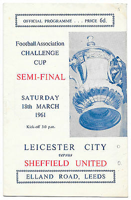 Leicester City v Sheffield United, 1960/61 - FA Cup Semi-Final Match Programme.