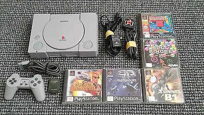Sony PS1/Playstation 1 Console Tested Working With 5 Games