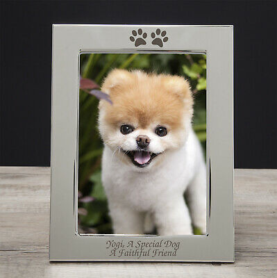 Personalised Engraved Silver Paw Print Photo Frame For Pets Gifts Dog Puppy Cat