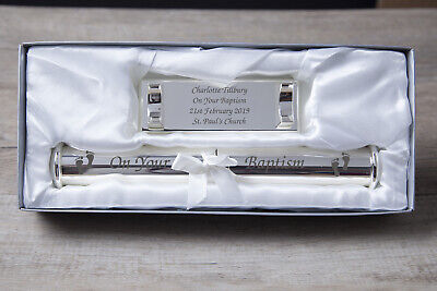 Personalised On Your Baptism Certificate Holder FREE Engraving AND Gift Box Set
