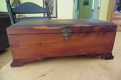 Vintage Wooden keepsake box ? hand made tools ? jewelry art ? supplies ? footed