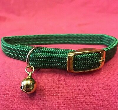 Cat Kitten Collar FULLY Elasticated Buckle Green EXTRA SAFETY COLLAR and BELL