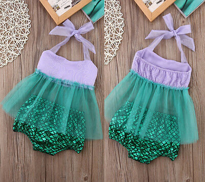 Cute Infant Baby Girl Tulle Tops+Bottoms Briefs Mermaid Outfits Set Costume UK