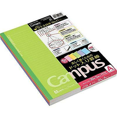 Kokuyo Campus Notebook - Semi B5 - Dotted 7 mm Rule - 30 Sheets - Pack of 5 Cove