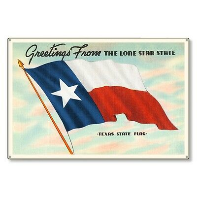 Lone Star State Texas Travel Postcard Metal Sign Wall Decor STEEL not tin 36x24
