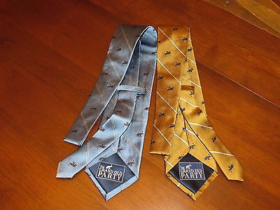 The Grand Old Party Republican Men's Neckties 100% Silk Set of 2 Gold & Blue NEW