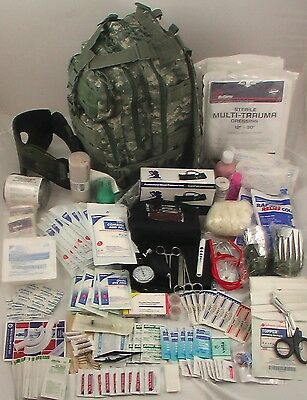 Tactical Military Level 3 Trauma Medical First Aid Kit - Fully Stocked, Black