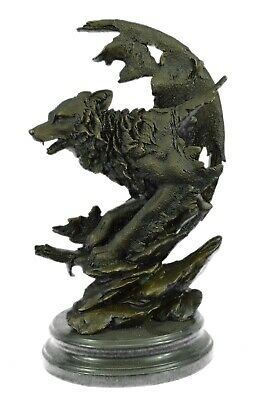 Celtic Moon Wolf Hot Bronze Sculpture Handmade Figure