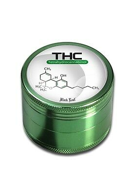 Black Leaf Grinder THC 4-teilig Ø 50mm Crusher Aluminium Magnet Herb Metal