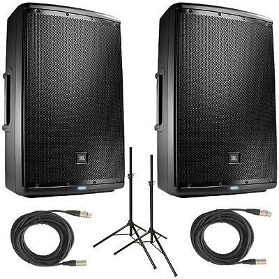 JBL EON 615 Powered Loudspeakers (Pair) with Stands and XLR Cables Bundle