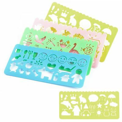 4× Art Stencils Plastic Templates Rulers for Drawing Scrapbooking Card Paper DIY