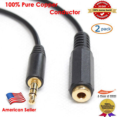 2-Pack Gold 3FT Stereo Headphone 3.5 mm Male/Female Audio Extension Cable