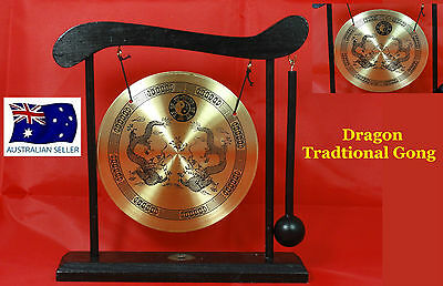 Chinese Dinner & Decorative Dragon Brass Gong & Wooden Stand & Hammer W28