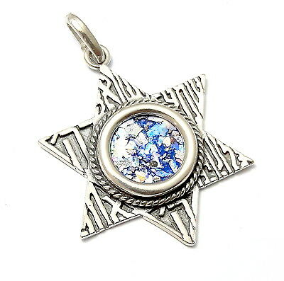 SHEMA ISRAEL Roman Glass 925 Silver Star Of David Pendant