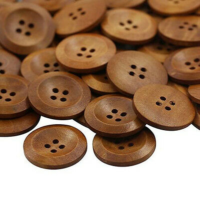 50 Pcs DIY Craft Round Wood Sewing 4 Holes Buttons 25mm Scrapbooking Wooden