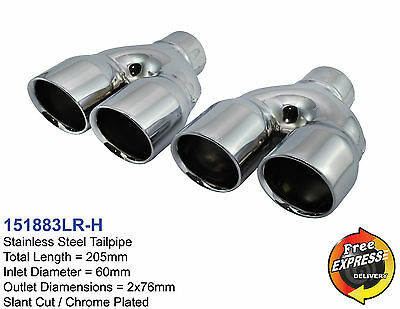 """Exhaust tips Dual Quad tailpipe trims 2x 3"""" for VW Golf 5 6 7 BMW M3 M5 M6 Style"""