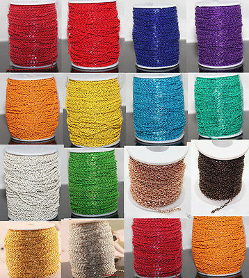 5/100M Cable Open Link Iron Metal Chain For Jewelry Craft Making 14 Color U Pick