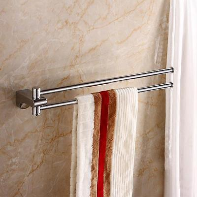 18 inch Brass Swivel Hanger Double Towel Bar Holder, Chrome Finish Wall Mounted