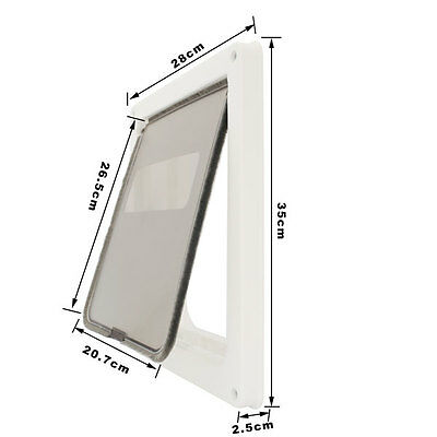 New White Lockable 2 Way Safe Brush Dog Door Flap For Cat Medium Dog Door Frame