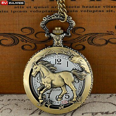 Antique Quartz Horse Bronze Retro Pocket Watch Pendant Necklace Vintage Gift New