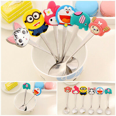 Kids Silicone Cartoon Characters Stainless Spoon Spoon Soup Coffee Dinnerware