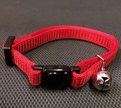 Cat kitten Collar RED Safety Collar Quick Release Soft Fabric & Bell