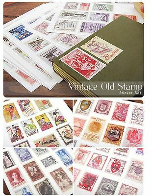 Stamps Sticker Retro Airmail Letter Vintage style - Set of 6 sheets