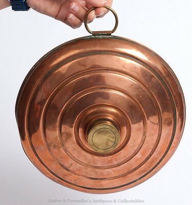 Unusual Antique COPPER BED WARMER - UFO Shape, Vintage Art Deco Hot Water Bottle