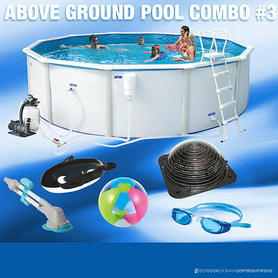 Endeavour Swimming Pool 17400L Above Ground Round 460cm Combo Pack Endeavourpack