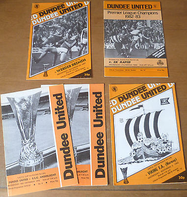 5x Dundee United, European Home Match Programmes, 1979-84.