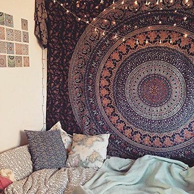 Twin Hippie Indian Tapestry Elephant Mandala Throw Boho Bedspread Wall Hanging