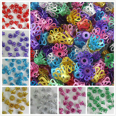 100/1000pcs Mixed Aluminum Crown Beads Caps Connector For Jewelry Making 6x9mm