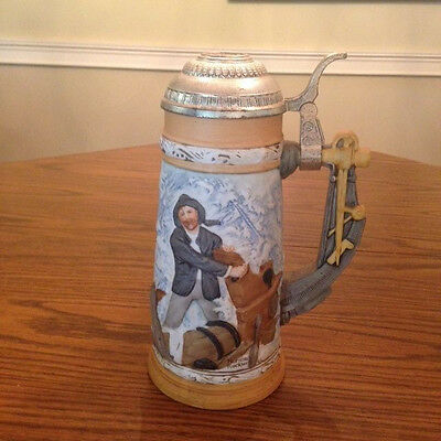 """Norman Rockwell """"Braving The Storm"""" Ltd. Edition Beer Stein"""