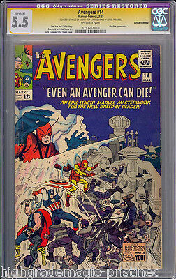 AVENGERS #14 CGC 5.5 SS STAN LEE SIGNED SIG SERIES #1197761010 dns