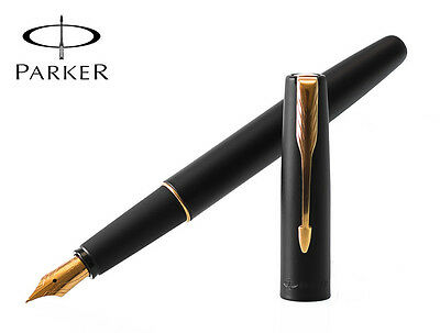 New Parker Frontier Matte Black Gt Fountain Pen Gold Nib-Lowest Shipping Charges