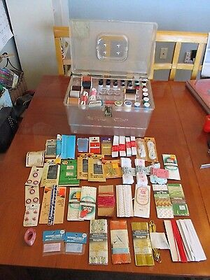 Vintage Lot Clear Plastic Sewing Box With One Tray & Sewing Notions