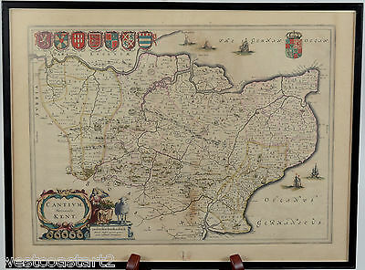 Willem & Jan Blaeu Cantivm Vernacule Kent UK Map circa 1650
