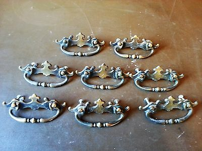"9 Vintage Mid Century Amerock 2Tone Brass Cabinet Drawer Pull Handles ""1968 CAN"""