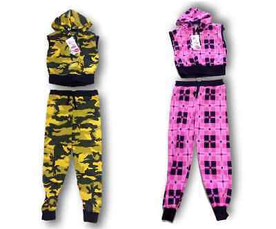 Girls Yellow Camo Camouflage Pink Tartan Sleeveless Tracksuit Leggings Age 7-13
