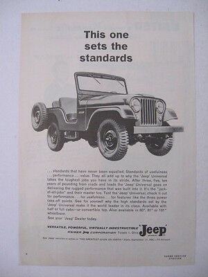 """1963 JEEP Universal """"This one sets the standards"""" Auto Vehicle Page Print Ad"""