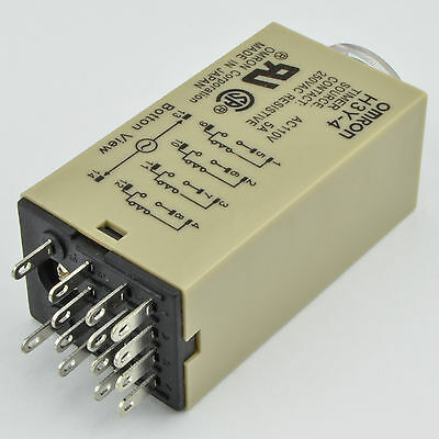 (1 PC) H3Y-4 Omron 240VAC Timer Relay 4PDT 14 Pin 5A (60 Sec) with Socket Base