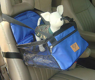 Dog car booster seat for small dogs up to 20 pounds Black, Red, Blue- nylon/mesh