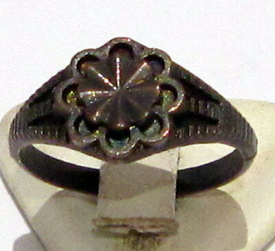 AMAZING METAL RING FROM THE EARLY 20 th c.WITH ENGRAVING ON THE TOP # 14B